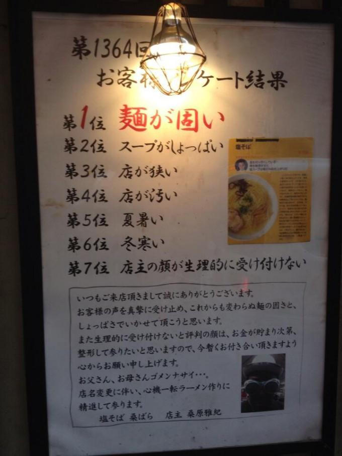 【張り紙おもしろ画像】バリカタ! 池袋の塩そば専門店「桑ばら」のお客様アンケート結果がひどい(笑)adsign_0012