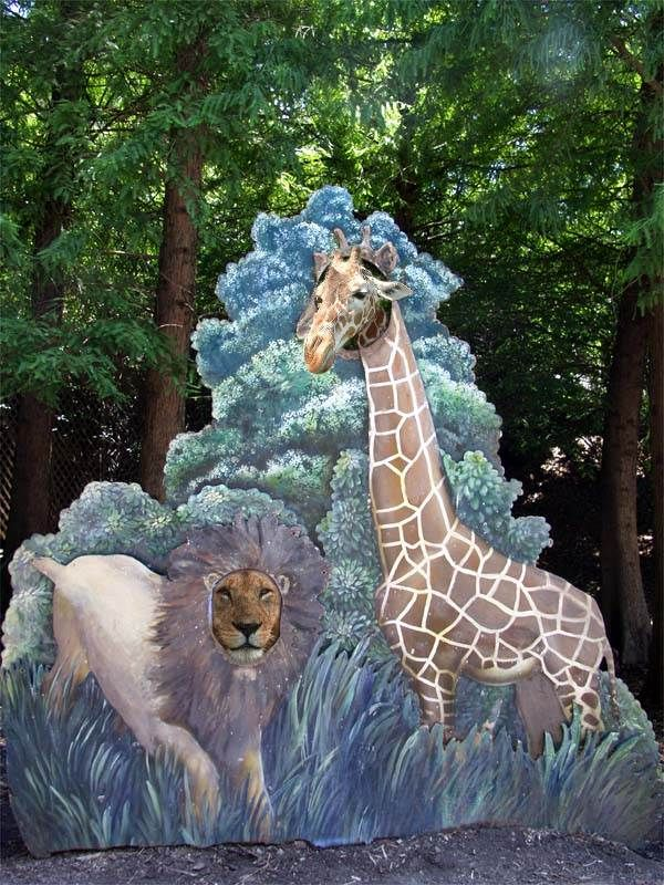 面白画像 意味なし! 動物園にあるライオンとキリンの顔出しパネル、本人たちが顔出し(笑)animal_0011