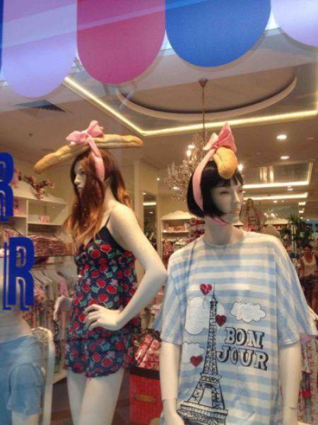 【おもしろ画像】流行ファッション! 頭にフランスパンを乗っけたマネキンがオシャレすぎます(笑)beauty_0000