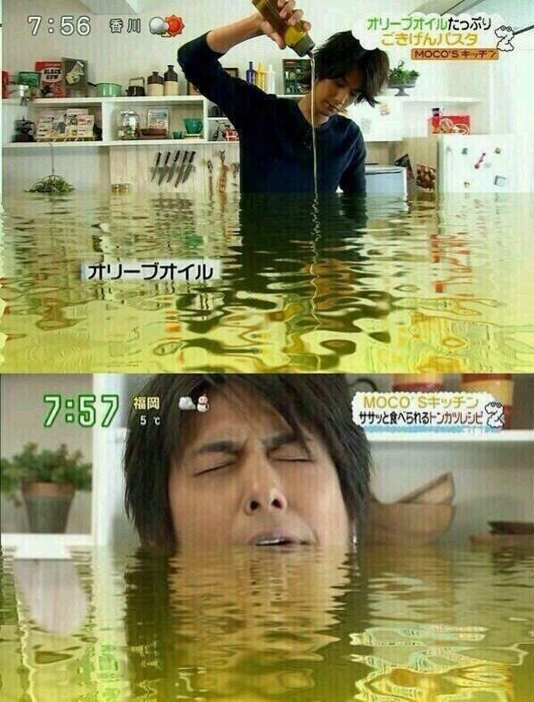 面白画像 『MOCO'Sキッチン』で速水もこみちが大量のオリーブオイルを使用、オリーブの海に沈む(笑)talent_0039