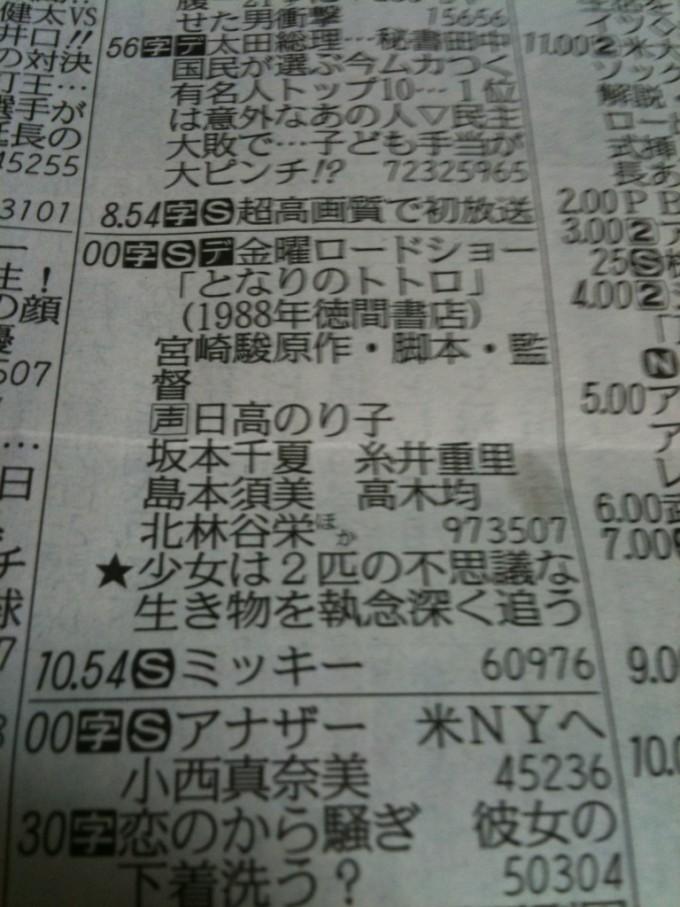 【テレビおもしろ画像】中日新聞の金曜ロードショー『となりのトトロ』の説明文(笑)