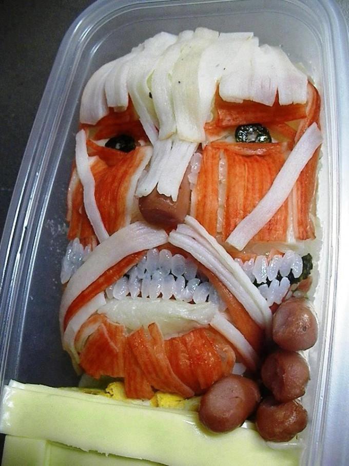 面白画像 カニカマで再現した『進撃の巨人』の巨人弁当がインパクト大(笑)animanga_0047