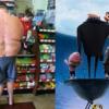 ショップで買い物している男性とアニメシリーズ『怪盗グルー』の後ろ姿(笑)
