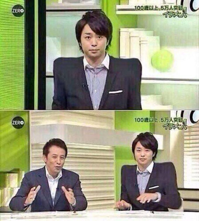 【テレビおもしろ画像】『NEWS ZERO』で櫻井 翔の「なで肩」が治ってしまう不思議な椅子(笑)