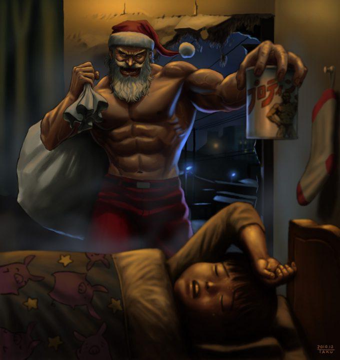 クリスマスおもしろ画像 サンタがこんなんだったらイヤだと思える筋肉質なサンタクロース(笑)christmas_0002