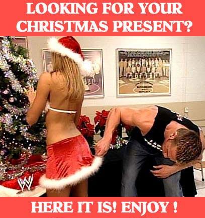 クリスマスおもしろ画像 クリスマスプレゼントを探してセクシーサンタのスカートの中を探す男性(笑)(笑)christmas_0011