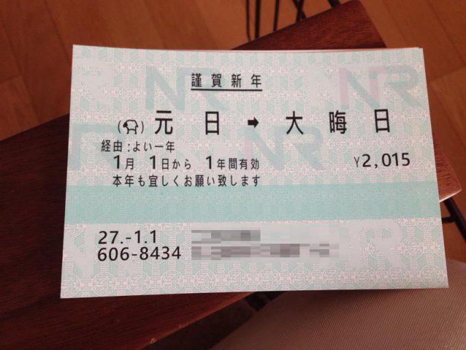 お正月おもしろ画像 意外な発想! 2015年の一年間だけ有効なJR乗車券のようなおもしろ年賀状(笑)newyear_0009