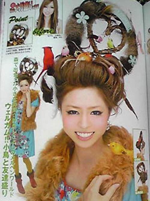 メルヘンな気分になれる!雑誌『小悪魔ageha』の髪型「ウェルカム!!小鳥と友達盛り」(笑)090911_1656