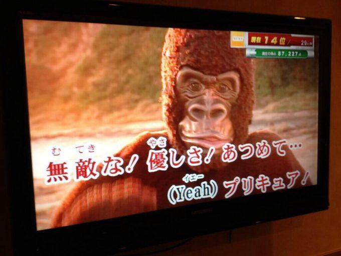 うほ! カラオケで『ドキドキ!プリキュア』の『Happy Go Lucky!ドキドキ!プリキュア』を歌っていたらゴリラが乱入(笑)syame_0071