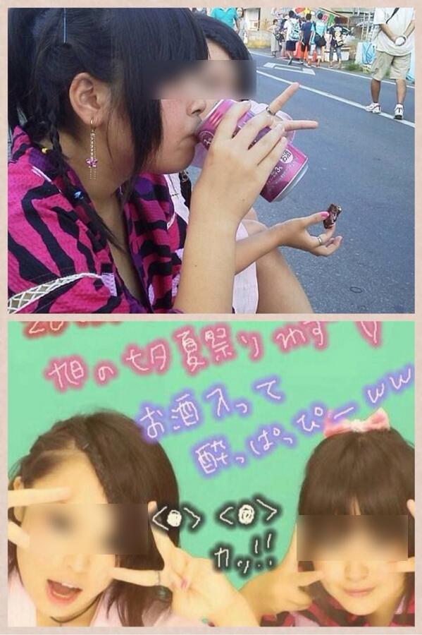 アホ? 女子中学生、七夕祭りで飲酒している写真をTwitterに公開(笑)kids_0084