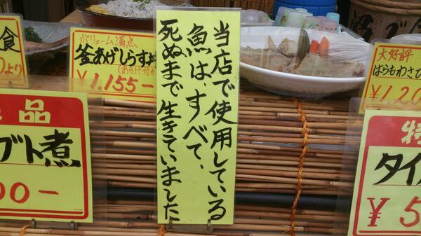 当たり前! 新鮮な魚が食べられる飲食店にあったポップが意味不明(笑)adsign_0066