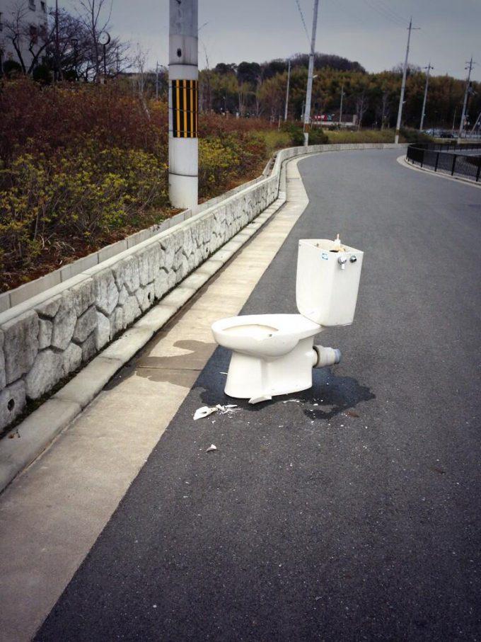 何度見ても見返してしまう! 道端に落ちていた洋式トイレ(笑)syame_0082