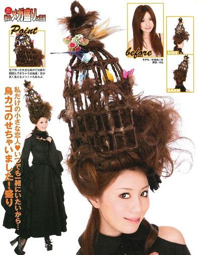 ぴよぴよ! ギャル雑誌『小悪魔ageha』掲載の髪型「鳥カゴのせちゃいました!盛り」(笑)