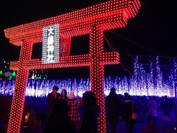 あしかがフラワーパーク内にある大藤神社のクリスマスイルミネーション