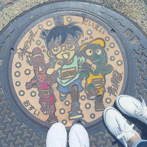 鳥取県の北栄町のコナンのマンホール