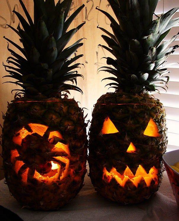 アイデア! ハロウィンパーティーにピッタリなパイナップルで作るジャックオーランタン(笑)halloween_0100
