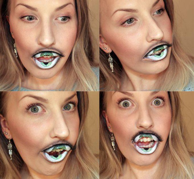 【海外ハロウィンおもしろメイク画像】パカッ! ハロウィンにぴったりな唇が目玉になるリップメイク(笑)halloween_0137_02