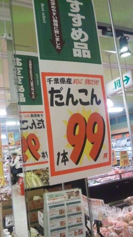 【スーパーのポップ誤字脱字・誤植おもしろ画像】煮物にどうぞ! スーパーで見かけた千葉県産だんこん(笑)
