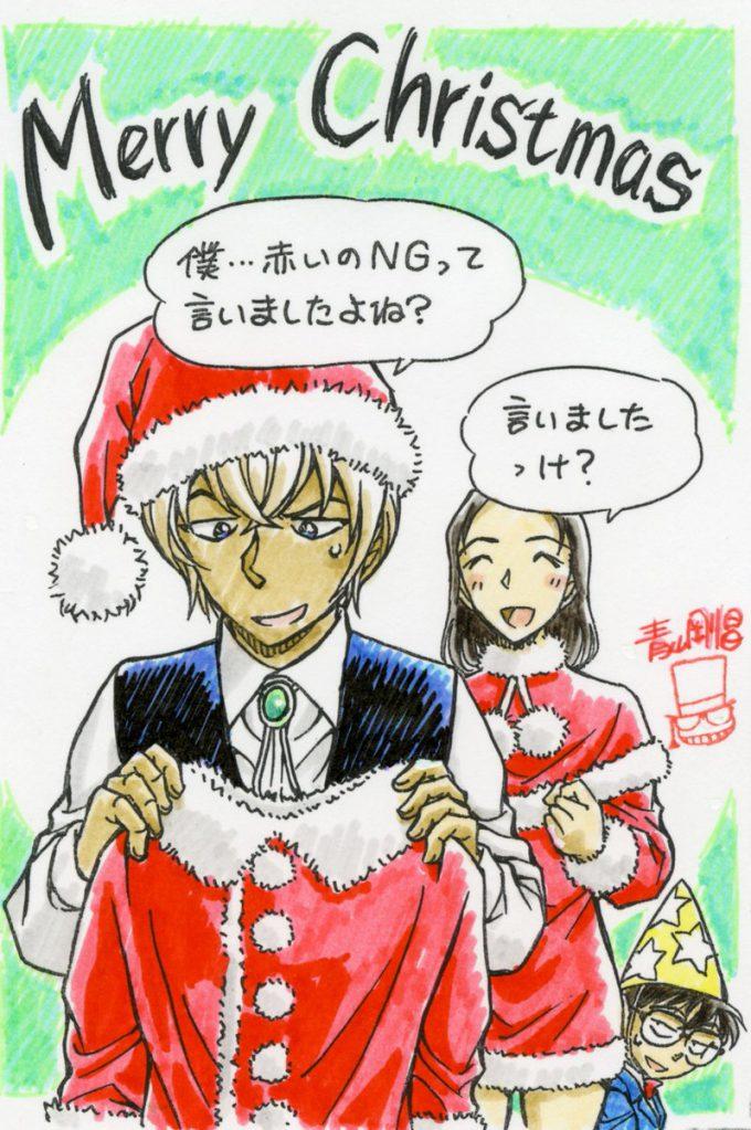 【名探偵コナンおもしろ画像】言ったのに! クリスマスに「喫茶ポアロ」の榎本梓が安室透に渡したサンタ衣装(笑)conan_0082