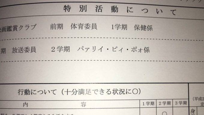 パリピ! 小学5年生の弟の通知表に記載されていた特別活動「パァリイ・ピィ・ポォ係」が気になる(笑)kids_0009a