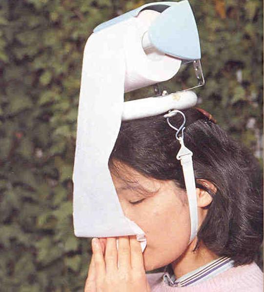 春先に必須! 花粉症がひどい人に最適なトイレットペーパー付ハット(笑)adsign_0093