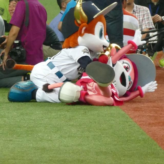 【野球の着ぐるみおもしろ画像】こら! 取材陣の横でバッファローベルにいじわるするバッファローブル(笑)