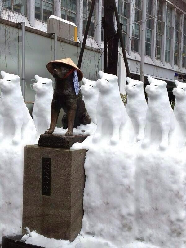 友だちいっぱい! 2014年2月の記録的大雪の日に増殖した渋谷ハチ公笑photo_0022