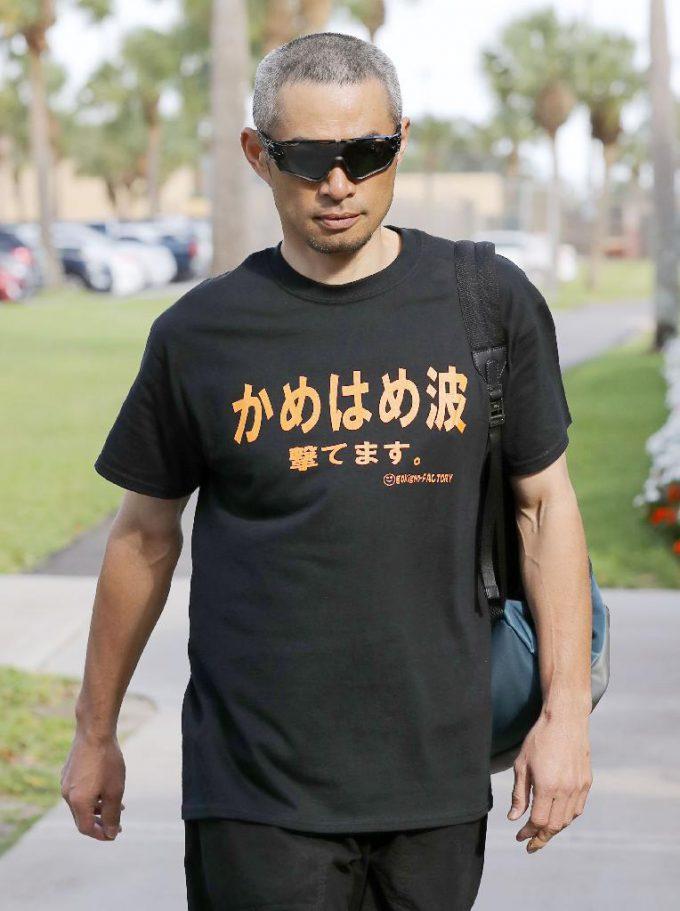 【野球イチローのTシャツおもしろ画像】悟空? イチローの着ているTシャツに書かれている文字がおもしろい(笑)talent_0105