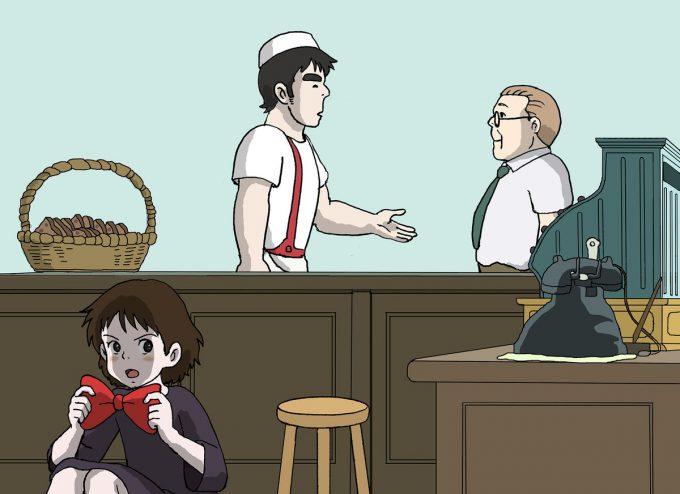 【名探偵コナンおもしろ画像】魔女の宅急便キキが蝶ネクタイ型変声機を使うおもしろいパロディイラスト(笑)