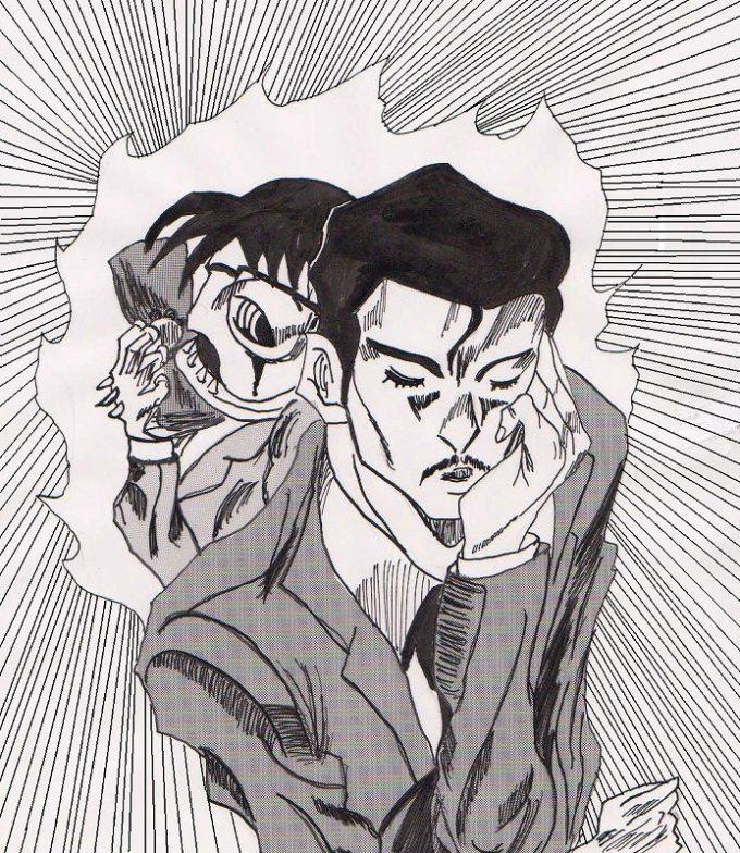 ゴゴゴ! コナンと眠りの小五郎を『ジョジョの奇妙な冒険』のスタンド風に描いてみたら(笑)conan_0116