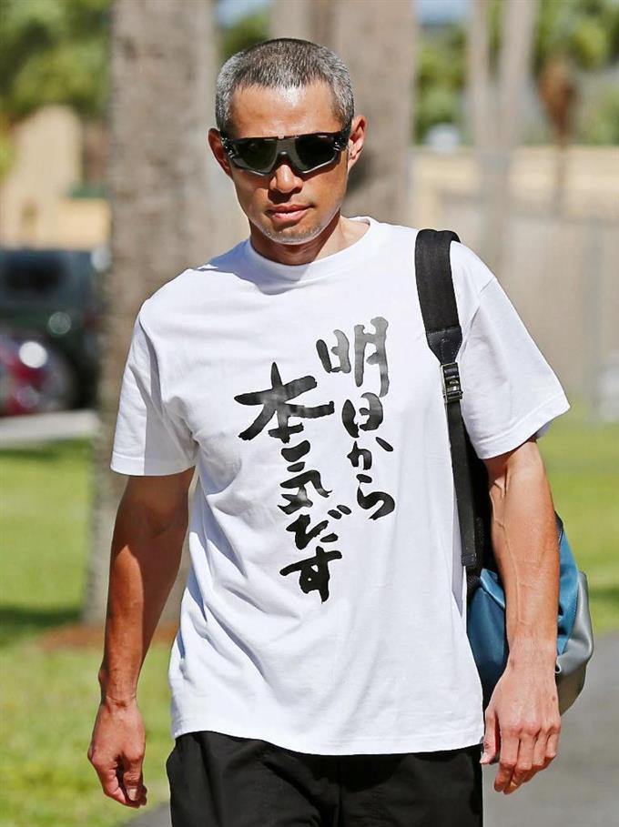 悟空? イチローの着ているTシャツに書かれている文字がおもしろい(笑)talent_0105_05
