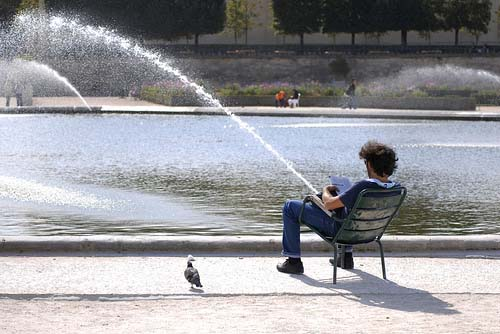 大放水! 公園の池の近くで座っている男性とスプリンクラーが一致して変なことに(笑)