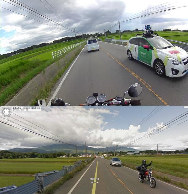 撮影! バイクに乗っていてGoogleカーに撮影された記念にGoogleカーを撮影する男性(笑)internet_0018