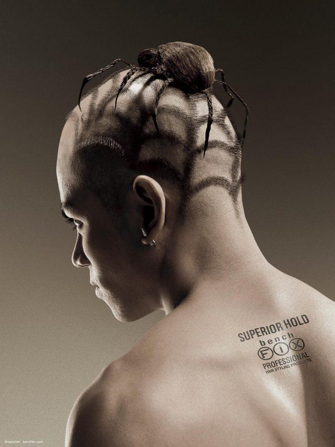 トカゲ? 頭にトカゲが乗っているかのようなヘアスタイルがかっこいい(笑)