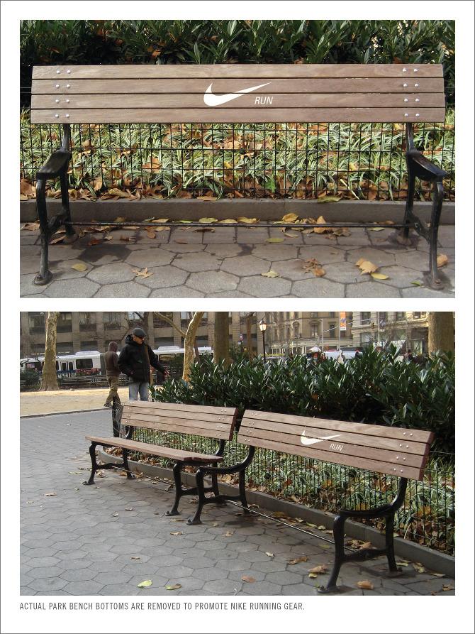 走れ! ベンチなのに座る所がない『Nike Running』の広告がおもしろい(笑)