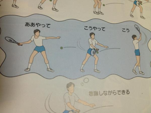 簡単! 体育教科書のテニスの挿絵が雑過ぎます(笑)