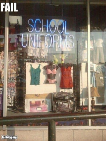 制服? 海外アパレルショップに展示されていたスクールユニフォームが過激(笑)