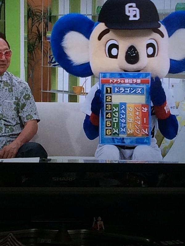【テレビ野球おもしろ画像】おい! 中日ドラゴンズ ドアラの順位予想の回答がおもしろい(笑)