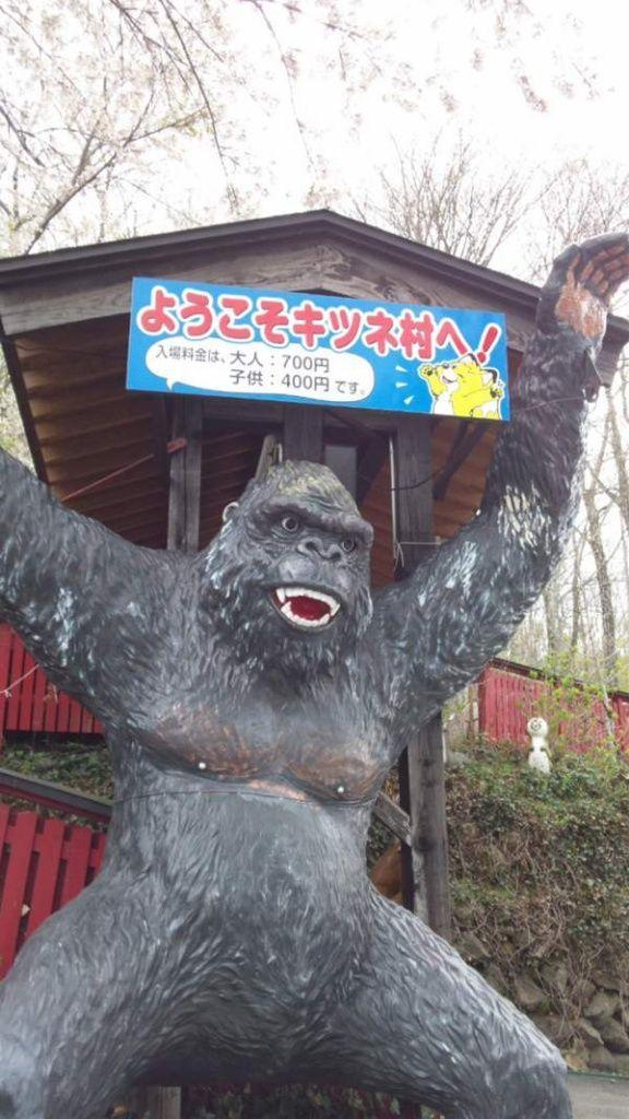 なんで? キツネ村の入口になぜかいるゴリラ像がシュール(笑)