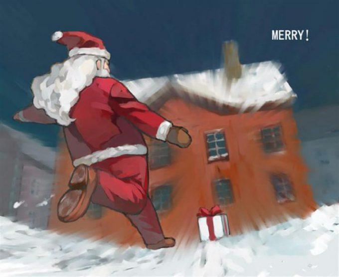 シュート! フリーキックでクリスマスプレゼントを上げようとするサンタ(笑)