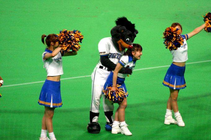 【野球と着ぐるみおもしろ画像】アウト! 日本ハムの元マスコットキャラB☆Bがチアガールにした邪魔がやばい(笑)