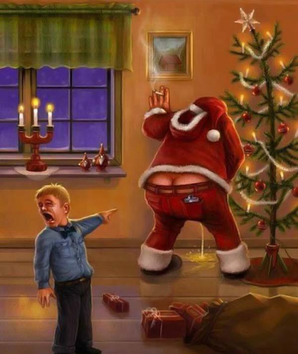 ママー! プレゼントを持ってきたサンタクロース、人の家で吐く(笑)