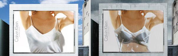 すごい発想! 雨が降ると透けるカルバン・クラインのビルボード広告(笑)