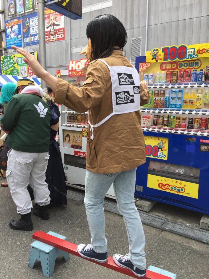 ざわ! 電流鉄骨渡りをするカイジコスプレを『日本橋ストリートフェスタ2018』で発見(笑)