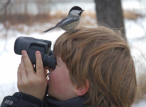 あれ? バードウォッチングをしている子ども、鳥が見えないと思ったら(笑)