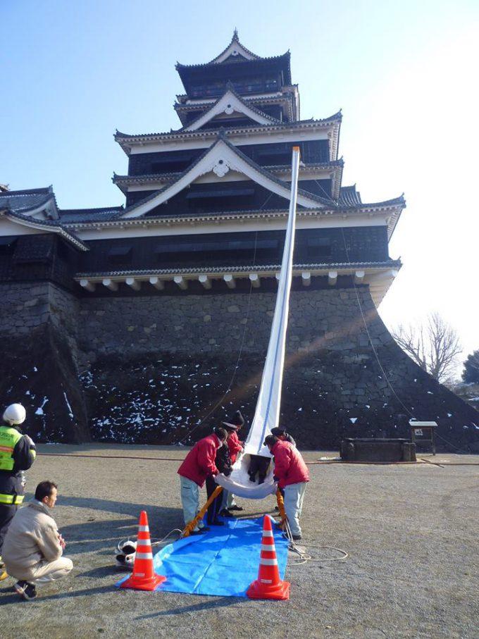 滑りたい! 熊本城の大天守から救助袋で脱出する消防訓練風景がすべり台みたいで楽しそう(笑)
