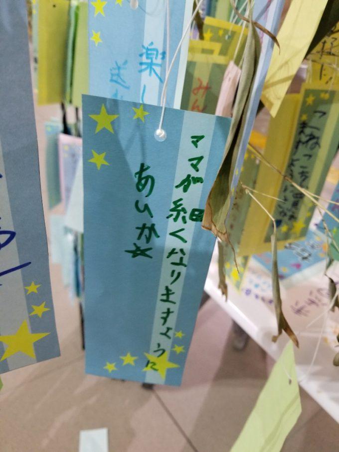 ママ! 青森八戸駅に飾ってあった子どもの七夕短冊願いごとがおもしろい(笑)