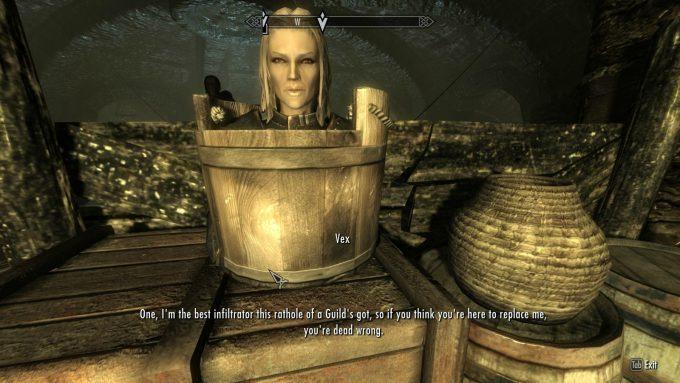 アクションRPG『スカイリム』で桶から顔を出すヴェックスがシュール(笑)