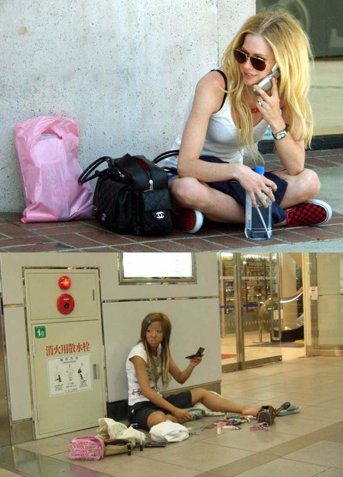 随分違う! 地べたに座る外国人女性とギャル、似てるようでなんか違う(笑)