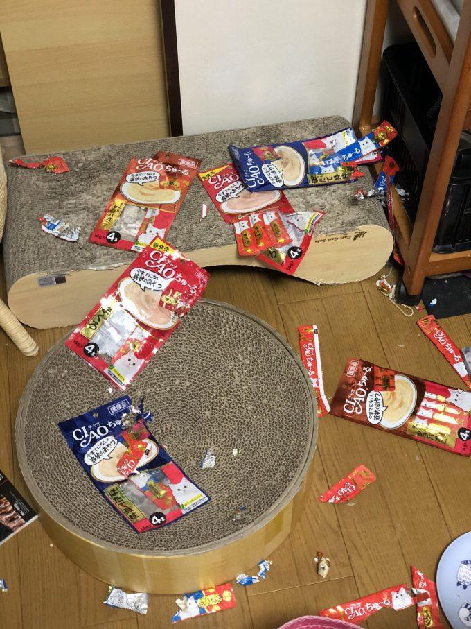 【猫おもしろ画像】一泊してる間にCIAOちゅ~るパーティーを行った猫(笑)